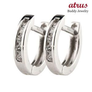 フープピアス レディース ダイヤモンド 中折れ式ピアス ホワイトゴールドk18 ダイヤ 宝石 あすつく 送料無料|atrus