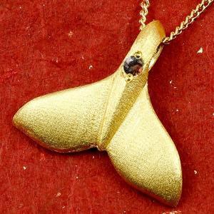 ハワイアンジュエリー 純金 メンズ ホエールテール クジラ 鯨 ガーネット ネックレス ゴールド ペンダント 天然石 1月誕生石 k24 24金 人気 宝石|atrus