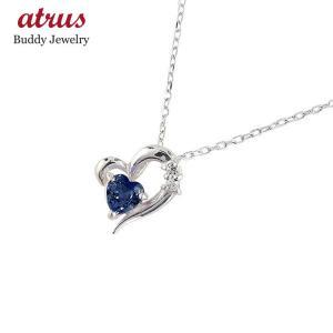 ダイヤモンド オープンハート ネックレス サファイア プラチナ 9月誕生石 チェーン 人気 ダイヤ atrus