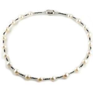 パール 真珠 フォーマル ネックレス ブラックダイヤモンド ダイヤモンド 40cm あすつく 送料無料|atrus