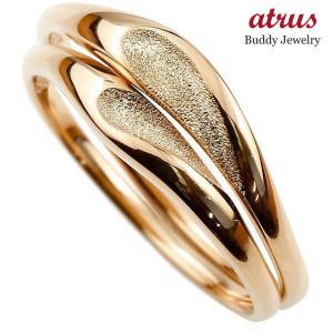 ペアリング 結婚指輪 マリッジリング ハート ピンクゴールドk10 10金 シンプル つや消し スターダスト加工 ストレート スイートペアリィー カップル  最短納期 atrus