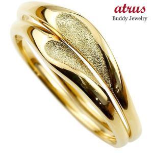 ペアリング 結婚指輪 マリッジリング ハート イエローゴールドk18 18金 シンプル つや消し スターダスト加工 ストレート スイートペアリィー カップル  最短納期 atrus