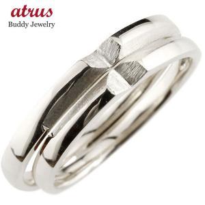 ペアリング 結婚指輪 マリッジリング クロス 十字架 ホワイトゴールドk18 18金 シンプル つや消し ストレート スイートペアリィー カップル  最短納期|atrus