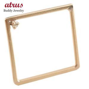 メンズ リング ダイヤモンド スクエア ピンクゴールドk10 指輪 四角 ホーニング 送料無料|atrus
