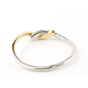 結婚指輪 マリッジリング ペアリング プラチナ イエローゴールドk18 ダイヤモンド スイートペアリィー 結び リング pt900 18金 華奢 コンビ|atrus|03