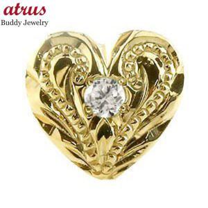 ハワイアンジュエリー 片耳ピアス ハワイアンピアス イエローゴールドk18 ハート ピアス スタッドピアス ダイヤモンド 18金 4月誕生石 レディース 送料無料 atrus