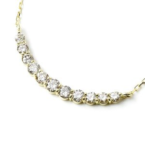 ダイヤモンドネックレス イエローゴールドk18 ラインネックレス ペンダント ダイヤ 0.52ct レディース 18k 18金 あすつく 送料無料|atrus