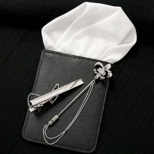 メンズ ネクタイピン タイバー ポケットチーフ 3点セット 選べるFixPon タイピン タイホルダー ナロータイ ユリの紋章 ピンブローチ シルバー 男性用 あすつく|atrus