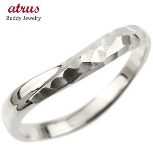 プラチナ 指輪 リング 婚約指輪 ピンキーリング 槌目 槌打ち ロック仕上げ pt900 地金 緩やかなV字 送料無料 atrus