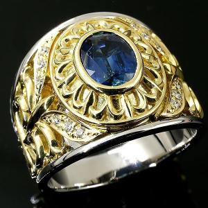 メンズ プラチナリング サファイア ダイヤモンド イエローゴールドk18 指輪 ダイヤ pt900 18金 幅広 コンビ ピンキーリング 男性用 人気 送料無料|atrus