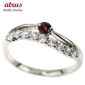 プラチナリング ガーネット キュービックジルコニア ウェーブ 指輪 pt900 ハーフエタニティ 2連リング 1月誕生石 ピンキーリング レディース 送料無料|atrus
