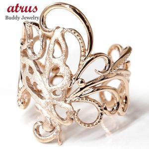 フリーサイズリング 蝶々 バタフライ ピンクゴールドk10 ファランジリング 指輪 10金 地金 ピンキーリング ホーニング加工 つや消し レディース あすつく|atrus