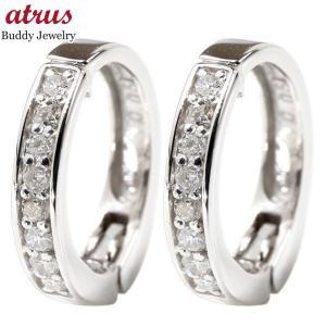 ピアリング 安い ダイヤモンド イヤリング ホワイトゴールドk10 フープイヤリング ノンホールピアス ダイヤ 0.1ct レディース あすつく 送料無料|atrus