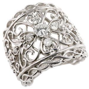 婚約指輪 プラチナリング ダイヤモンド エンゲージリング ダイヤモンド 幅広 透かし アンティーク 指輪 ピンキーリング pt900 宝石 レディース 送料無料|atrus