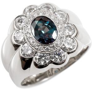 婚約指輪 プラチナリング アレキサンドライト 希少石 ダイヤモンド エンゲージリング 幅広 指輪 pt900 宝石 大粒 稀少石 レディース 送料無料|atrus