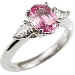 婚約指輪 プラチナリング ピンクサファイア 希少石 ダイヤモンド エンゲージリング 指輪 ピンキーリング pt900 宝石 大粒 レディース 送料無料|atrus