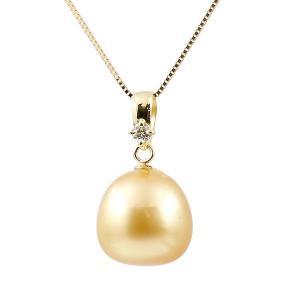 ネックレス 真珠 パール 冠婚葬祭 南洋ゴールデンパール ダイヤモンド イエローゴールドk18 ダイヤ チェーン 人気 レディース 18金 宝石 あすつく 送料無料|atrus