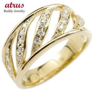 メンズ リング イエローゴールドk18 ダイヤモンド 幅広 指輪 リング ダイヤ 18金 ピンキーリング 男性用 送料無料|atrus