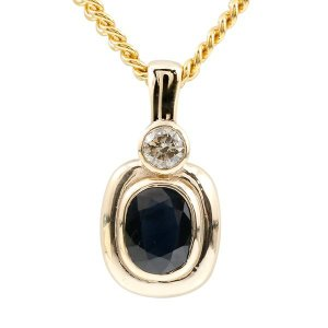 ネックレス メンズ 喜平用 ダークサファイア ダイヤモンド イエローゴールドk10 10金 ダイヤ 一粒 大粒 ペンダント シンプル チェーン キヘイ 男性用 あすつく|atrus