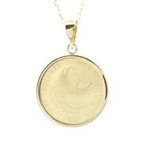 24金 ネックレス トップ  コイン 純金 フェニックス 純金貨 エリザベス イギリス イエローゴールドk18 1/20オンスコイン リバーシブル 2019年 あすつく 送料無料|atrus