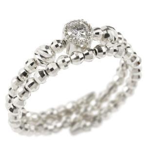 フリーサイズ リング 2連 ダイヤモンド 形状記憶 ホワイトゴールドk18 ミラーボール ダイヤ 指輪 18金 あすつく 送料無料|atrus
