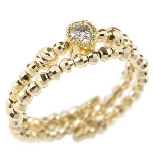 フリーサイズ リング 2連 ダイヤモンド 形状記憶 イエローゴールドk18 ミラーボール ダイヤ 指輪 18金 あすつく 送料無料|atrus