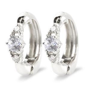 ピアリング プラチナ 正規品 ダイヤモンド pt900 レディース イヤリング シンプル ノンホールピアス 4月誕生石 女性 最短納期 送料無料|atrus