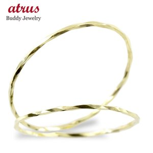 18金 ペアリング 指輪 地金 カット ゴールド 18k イエローゴールドk18 メンズ レディース ピンキーリング カップル 2本セット 華奢 最短納期 送料無料 atrus
