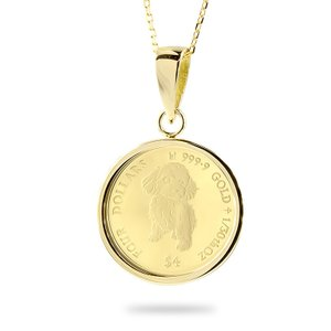 24金 ネックレス トップ コイン 純金 犬 トイプードル 2021年 純金貨 エリザベス女王 イギリス イエローゴールドk18 1/30オンス リバーシブル ケース付 あすつく|atrus