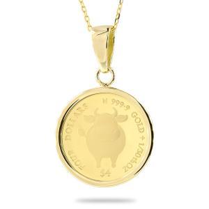 24金 ネックレス トップ コイン 純金 丑年 牛 2021年 純金貨 エリザベス女王 イギリス イエローゴールドk18 1/30オンス リバーシブル ケース付 あすつく atrus
