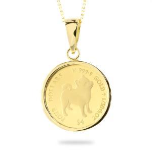 24金 ネックレス トップ コイン 純金 豆柴 2020年 純金貨 エリザベス女王 イギリス イエローゴールドk18 1/30オンス リバーシブル ケース付 あすつく atrus