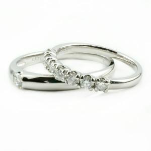 ペアリング プラチナ ダイヤモンド 結婚指輪 マリッジリング リング2本セット ダイヤ リング ソリティア エタニティリング 結婚式 カップル|atrus|02