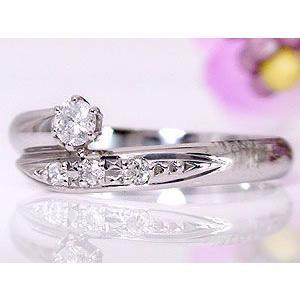 エンゲージリング プラチナ ダイヤモンド 婚約指輪 リング 指輪 ピンキーリング リング 一粒 ストレート|atrus|02