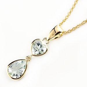 ネックレス アクアマリンペンダント ダイヤモンド K18 ハート つゆ イエローゴールド 3月の誕生石アクアマリン ダイヤ 18金 レディース 最短納期 送料無料 atrus