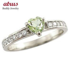 ピンキーリング ハート ペリドット リング プラチナ ダイヤモンド 指輪 8月誕生石 ダイヤ 宝石 送料無料|atrus