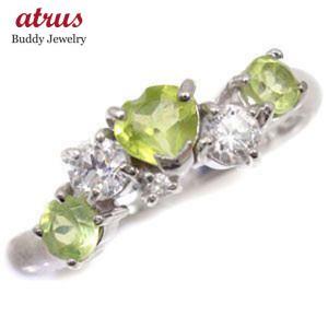 ピンキーリング ハート ペリドット リング ダイヤモンド 8月誕生石 ホワイトゴールドk18 指輪 18金 ダイヤ 宝石 送料無料|atrus