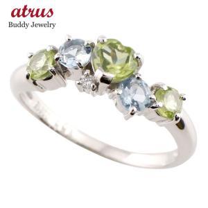 ピンキーリング ハート ペリドット リング プラチナ ダイヤモンド アクアマリン 指輪 8月誕生石 ダイヤ 送料無料|atrus