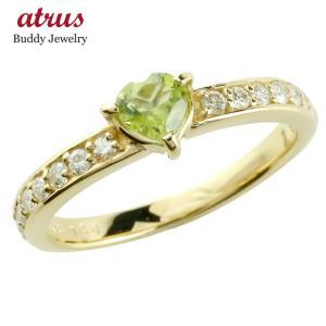 ピンキーリング ペリドット リング ダイヤモンド 8月誕生石 イエローゴールドk18 指輪 18金 ダイヤ ストレート 宝石 送料無料|atrus