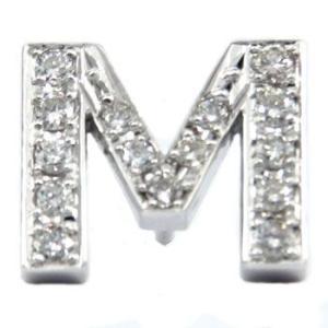 ネックレス イニシャル M ダイヤモンド ピンブローチ ラペルピン ホワイトゴールドK18 18金 タックピン ダイヤ 送料無料|atrus