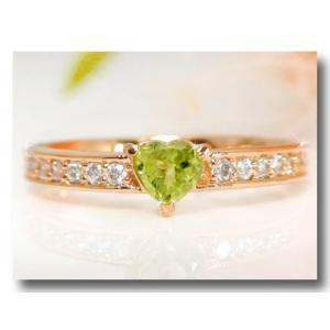 ピンキーリング ハート ペリドット リング ダイヤモンド 8月誕生石 ピンクゴールドk18 指輪 18金 ダイヤ 宝石 送料無料|atrus