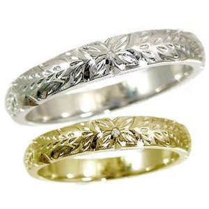 結婚指輪 ハワイアンペアリング ダイヤモンド ホワイトゴールドk18イエローゴールドk18 k182本セット ダイヤ シンプル 人気|atrus