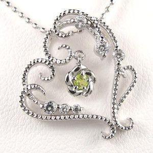8月誕生石 ぺリドット ハート ネックレス ダイヤモンド ホワイトゴールド ダイヤモンドペンダント ダイヤ 18金 送料無料|atrus
