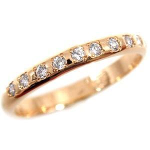 ピンキーリング ダイヤモンド リング エンゲージリング 婚約指輪 ピンクゴールドk18 18金 ダイヤモンドリング ダイヤ ストレート 2.3 宝石|atrussun