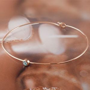 ブレスレット ブルートパーズ 一粒 ピンクゴールドk18 バングル 18金 11月誕生石 レディース 宝石