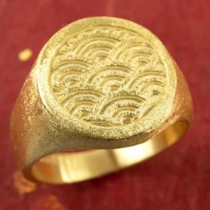 24金 指輪 メンズ 印台 青海波 純金 リング 幅広 k24 24k 金 ゴールド ピンキーリング...