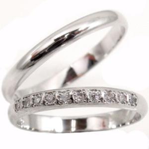ストレート マリッジリング 甲丸 結婚指輪 ペアリング プラチナ ダイヤ ダイヤモンド ハーフエタニティ 結婚式 カップル 2.3 メンズ レディース|atrussun