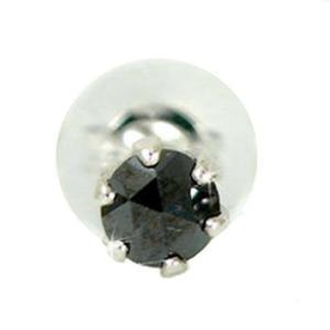 メンズ片耳ピアス ブラックダイヤモンド プラチナダイヤ シンプル 男性用 宝石
