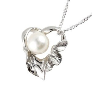 パール 真珠 フォーマル 誕生石 ハート アコヤ 本真珠 ネックレス トップ 一粒パール シルバー925 ハート SV925 レディース チェーン 宝石|atrusyume