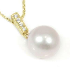 パールネックレス 真珠 フォーマル ネックレス アコヤ 本 ダイヤモンド ネックレス 一粒 イエローゴールドK18 チェーン 人気 18金 ダイヤ 送料無料|atrusyume
