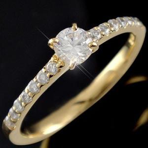 鑑定書付き 婚約指輪 ダイヤモンド エタニティ エタニティリング エンゲージリング 0.48ct リング イエローゴールドK18 一粒 大粒 SI ダイヤ 18金 ストレート|atrusyume